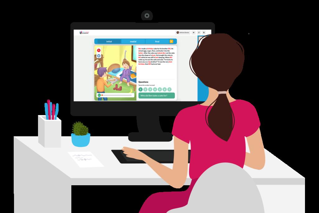 Woman using Speech and Language Academy